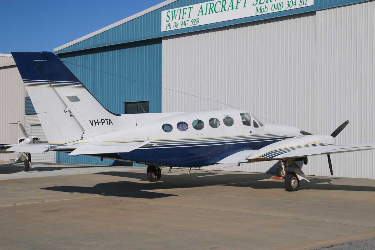 VH-PTA Cessna 414A Chancellor (MSN 414A0490, ex ) owned by AP & Co Pty Ltd, of Brighton, VIC, at Jandakot Airport - Sat 13 September 2014. Photo © David Eyre