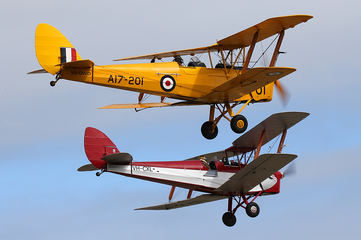 VH-DWD De Havilland DH-82A Tiger Moth (MSN 202) built in 1940 at Serpentine Airfield – 28 Sept 2014