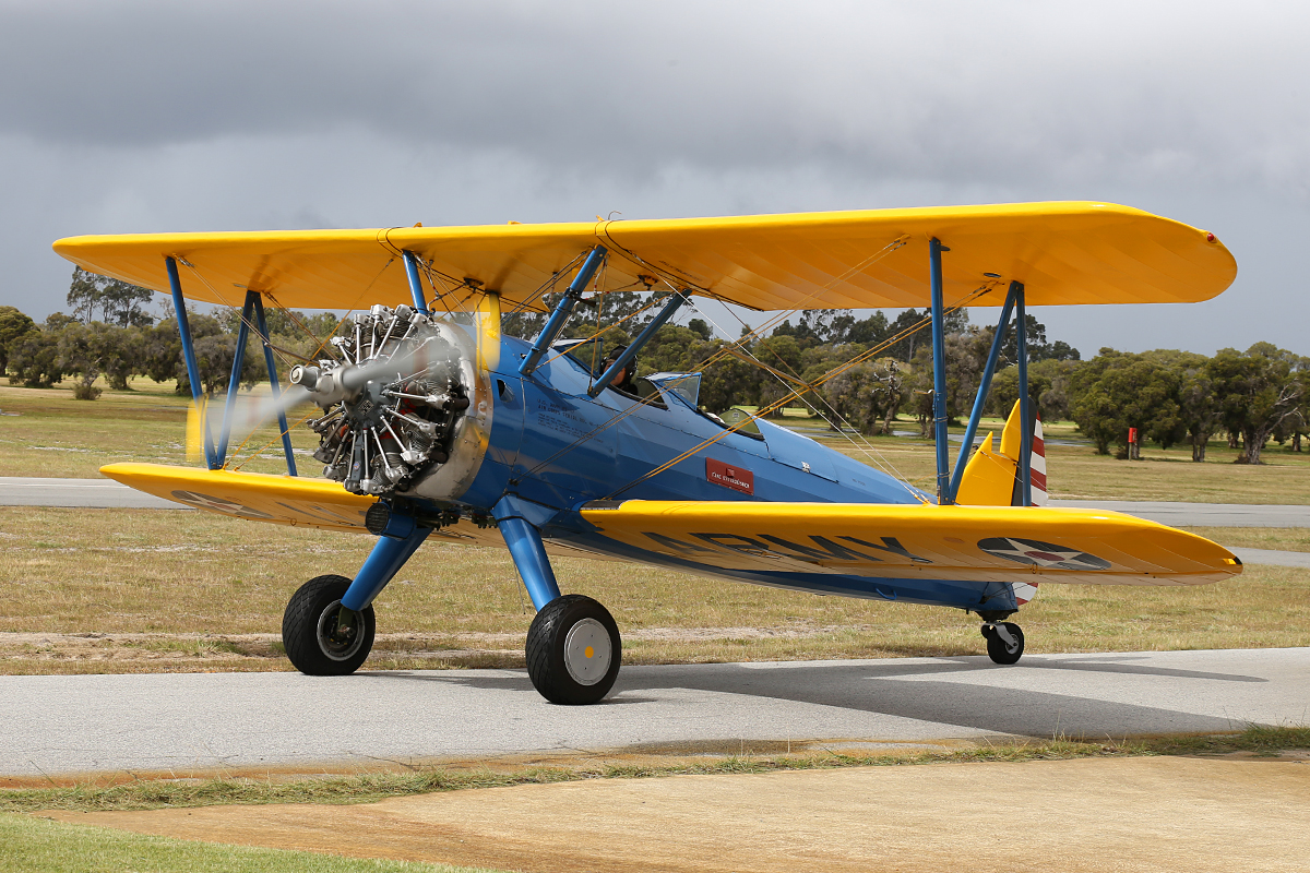 VH-URC Boeing A75N1 Stearman (MSN 75-1834) built in 1941 at Serpentine Airfield – 28 Sept 2014