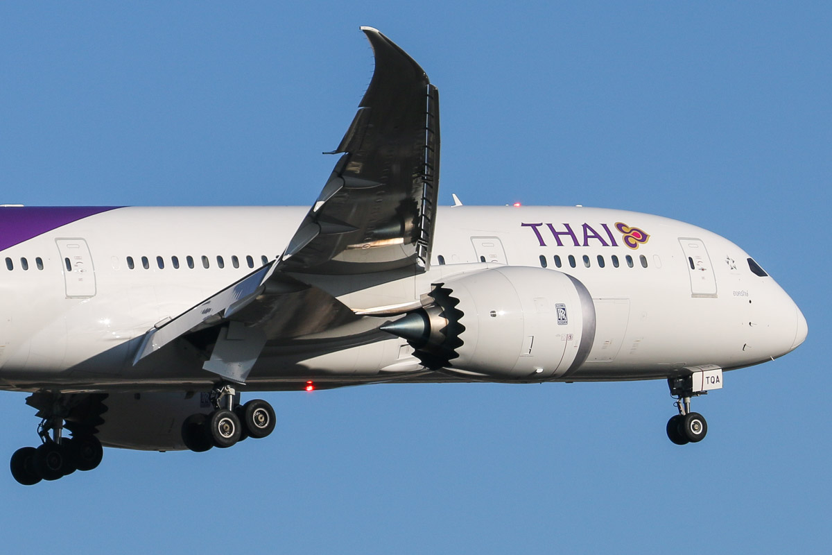 HS-TQA Boeing 787-8 Dreamliner (MSN 35315/190), named 'Ongkharak', of Thai Airways at Perth Airport – Fri 26 Sept 2014. First visit by HS-TQA to Australia. On finals for runway 03 at 7:28am as TG483 from Bangkok. This aircraft was quite new at the time of this photo - it was delivered to Thai on 18 July 2014, and initially operated domestic flights within Thailand, before operating international flights between Bangkok and Tokyo-Haneda. Photo © David Eyre