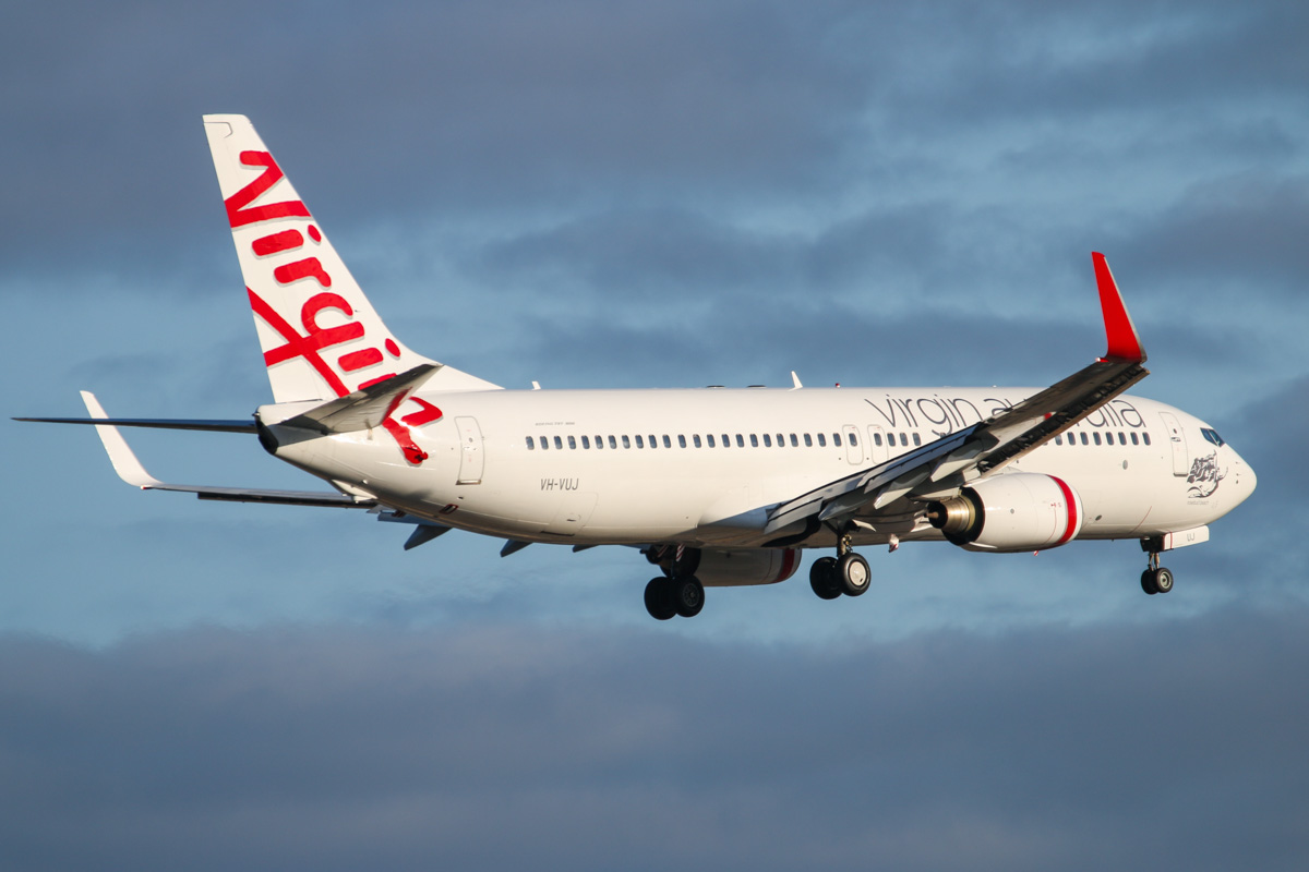 VH-VUJ Boeing 737-8FE (MSN 34443/2056) named 'Rosebud Beach', of Virgin Australia at Perth Airport - Fri 26 September 2014. Flight VA677 from Melbourne, on final approach to runway 03 at 7:16am. Photo © David Eyre