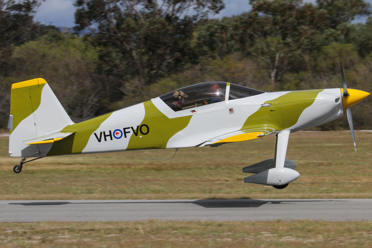 VH-FVO Team F1 Evo Rocket (MSN T-169) owned by Trevor P Chadwick, at SABC Annual Fly In, Serpentine Airfield – Sun 28 September 2014. Built in 2006 at Serpentine. The Team F1 Evo Rocket is a two-seat sportplane, designed in Czech Republic by International High Performance Aircraft, and marketed as a kit by Team Rocket of Texas, USA. This is said to be the fastest aircraft based at Serpentine, with a top speed of 386 kilometres per hour. Photo © David Eyre