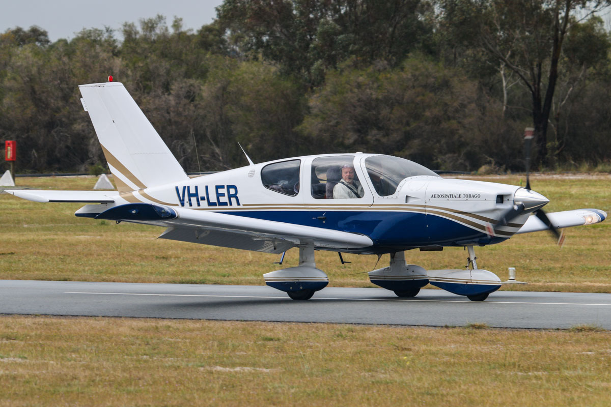 VH-LER SOCATA TB-10 Tobago (MSN 1231) owned by Nevan Pavlinovich, at SABC Annual Fly In, Serpentine Airfield – Sun 28 September 2014. Built in 1991, ex N5543G. The letters 'TB' in the model number stand for Tarbes, in the south of France, where SOCATA aircraft are built. Photo © David Eyre