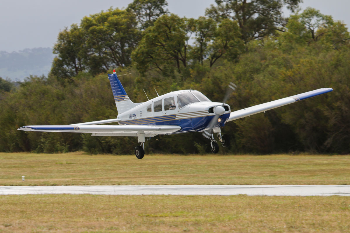 VH-PZK Piper PA-28-161 Warrior II (MSN 28-7816203) owned by Minovation Pty Ltd, , at SABC Annual Fly In, Serpentine Airfield – Sun 28 September 2014. Landing on runway 23. Photo © David Eyre
