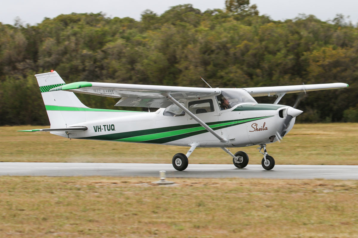 VH-TUQ Cessna 172M Skyhawk (MSN 17263556), named 'Sheila', owned by John Browne, at SABC Annual Fly In, Serpentine Airfield – Sun 28 September 2014. Landing on runway 23. Built in 1974, ex N1411V. Photo © David Eyre