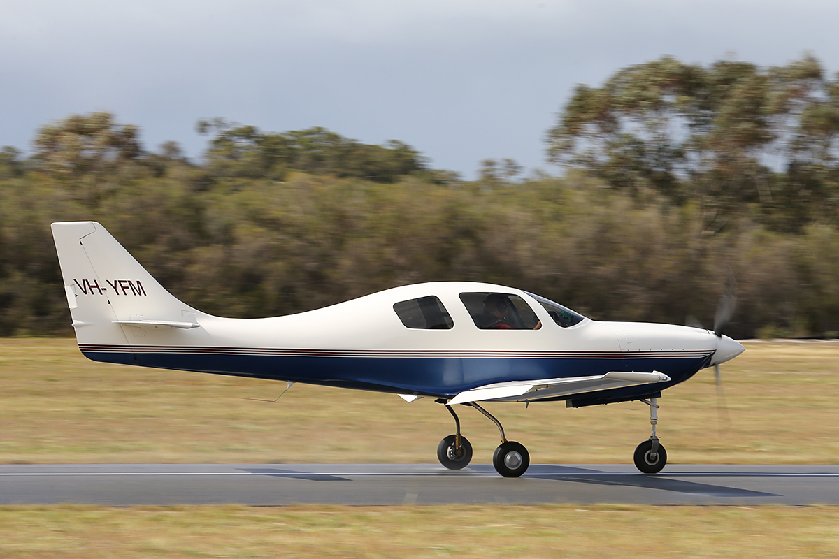 VH-YFM Neico Lancair IV (MSN LIV-160) owned by Frederick E Moreno/Nullaki Air Pty Ltd, of Denmark, WA, at SABC Annual Fly In, Serpentine Airfield – Sun 28 September 2014. Landing on runway 23.  Fred Moreno began building this aircraft from a kit in California, starting in the early 1990s. It was 50% complete when he retired, left California and moved to Denmark, WA in 2001. The aircraft was completed in 2008 and since then has travelled all over Australia and NZ. In 2015, flying with Gary Burns, he set FAI speed records for Canberra/Christchurch and Sydney/Christchurch.  Photo © Keith Anderson