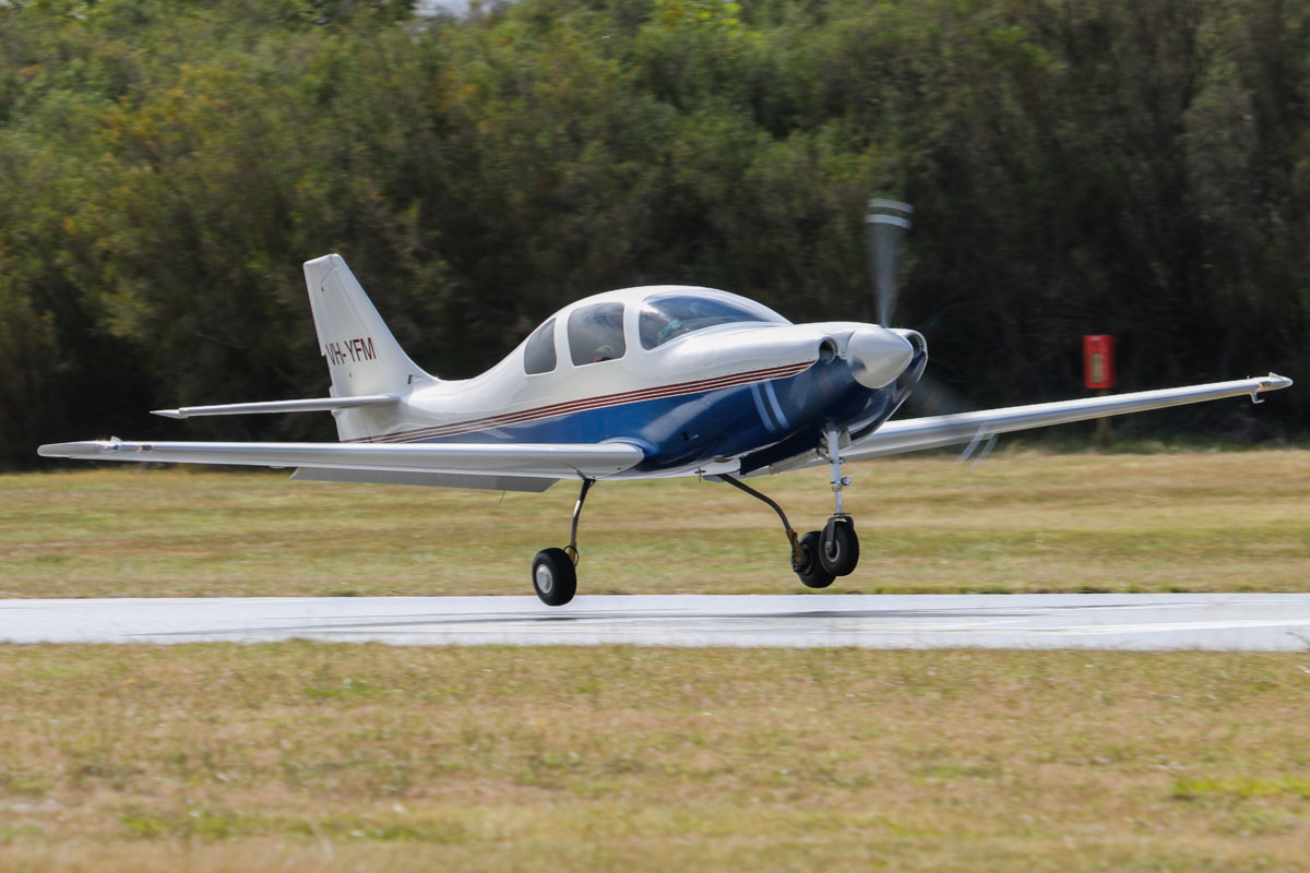 VH-YFM Neico Lancair IV (MSN LIV-160) owned by Frederick E Moreno/Nullaki Air Pty Ltd, of Denmark, WA, at SABC Annual Fly In, Serpentine Airfield – Sun 28 September 2014. Landing on runway 23.  Fred Moreno began building this aircraft from a kit in California, starting in the early 1990s. It was 50% complete when he retired, left California and moved to Denmark, WA in 2001. The aircraft was completed in 2008 and since then has travelled all over Australia and NZ. In 2015, flying with Gary Burns, he set FAI speed records for Canberra/Christchurch and Sydney/Christchurch.  Photo © David Eyre