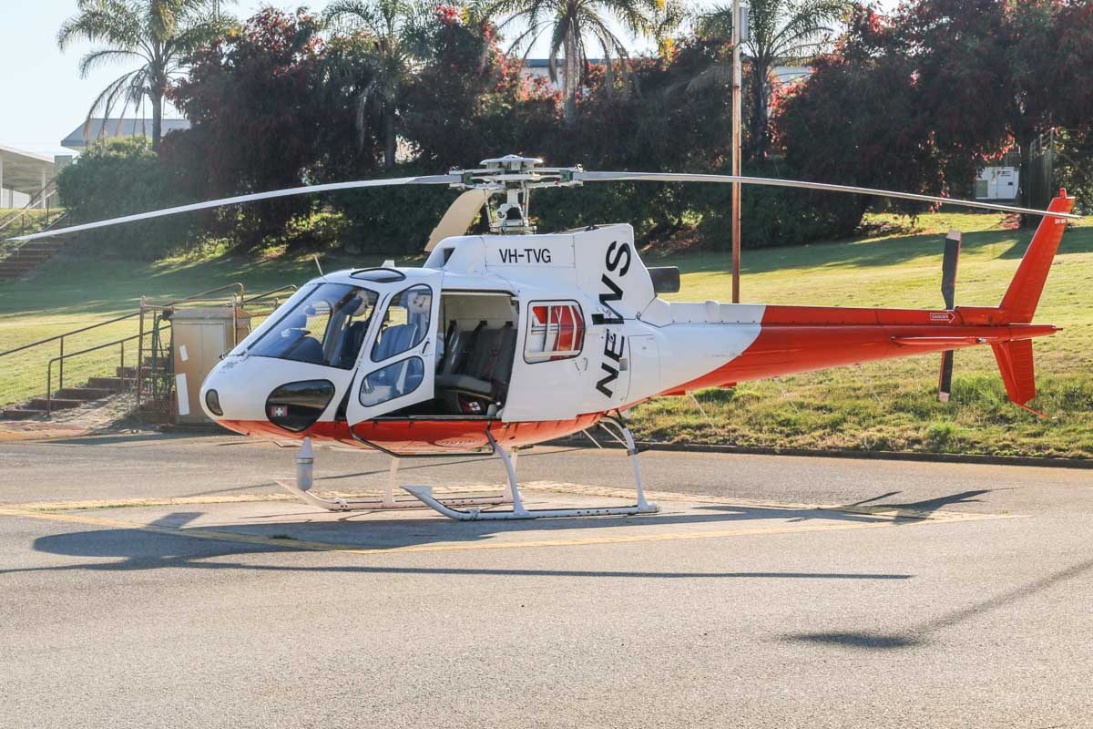 VH-TVG Eurocopter AS350BA Squirrel (MSN 1895) owned by Channel Seven Perth Pty Ltd, at Channel Seven Studios helipad, Dianella – Tue 30 September 2014. Channel Seven's news helicopter. Channel 7 Perth previously leased a Hughes 500D (369D) VH-KSY around 1981-2, this was sold in 1984. In June 1986, they acquired AS350B VH-TVG from new and converted it to an AS350BA in 1995. Photo © David Eyre