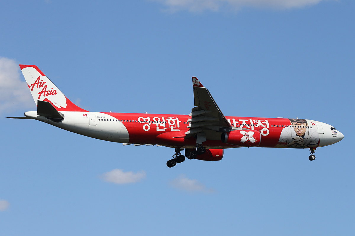 "9M-XXO Airbus A330-343X (MSN 692) of AirAsia X with ""THANK YOU CAPTAIN PARK"" special livery, at Perth Airport – Sat 4 Oct 2014"