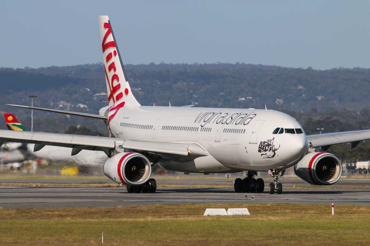 VH-XFD Airbus A330-243 (MSN 1306) of Virgin Australia, named 'Bells Beach', at Perth Airport – Mon 6 October 2014. Flight VA561 from Sydney, exiting runway 24 after landing at 4:17pm. Photo © David Eyre