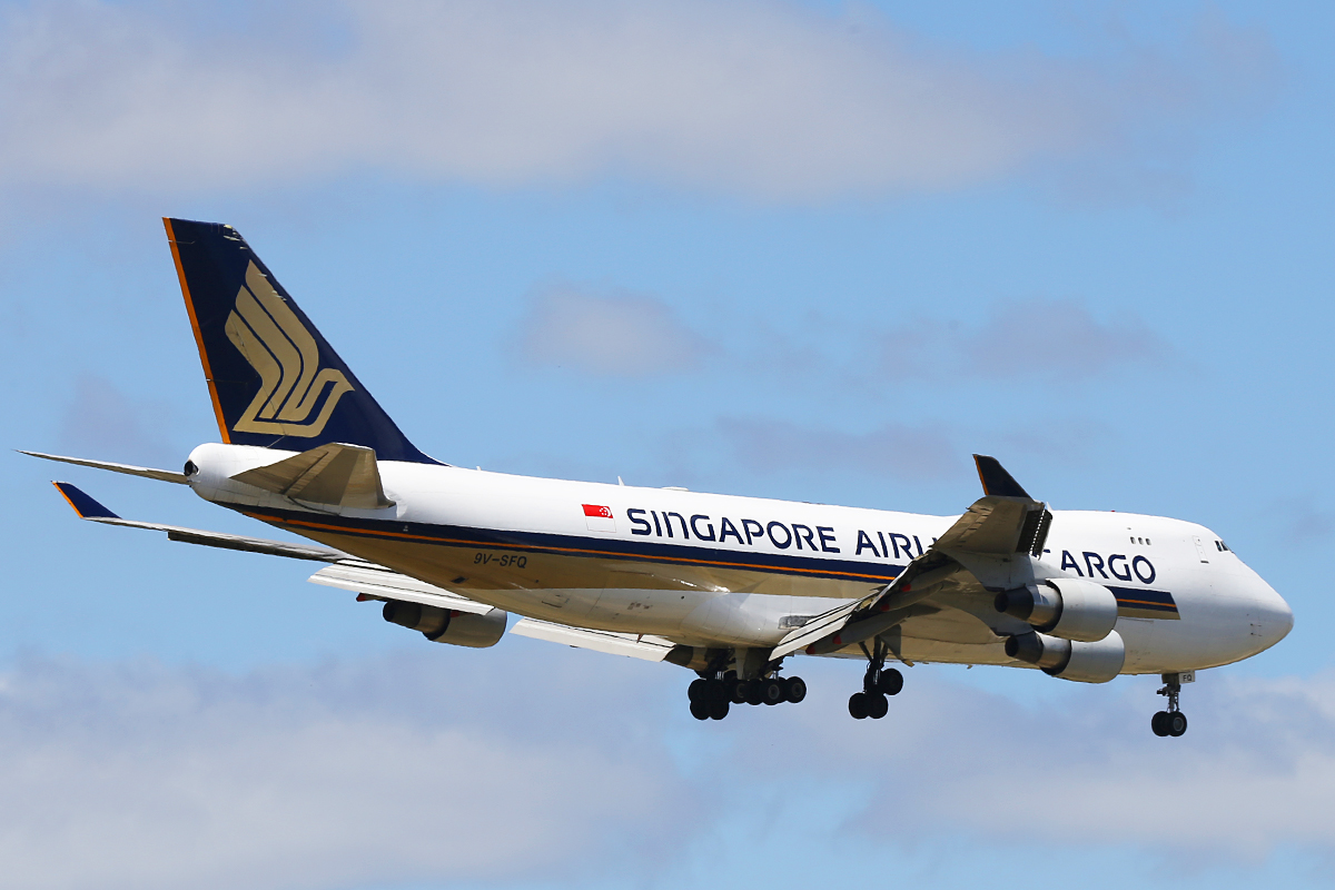 9V-SFQ Boeing 747-412F (MSN 32901) of Singapore Airlines Cargo at Perth Airport - Thurs 9 Oct 2014.