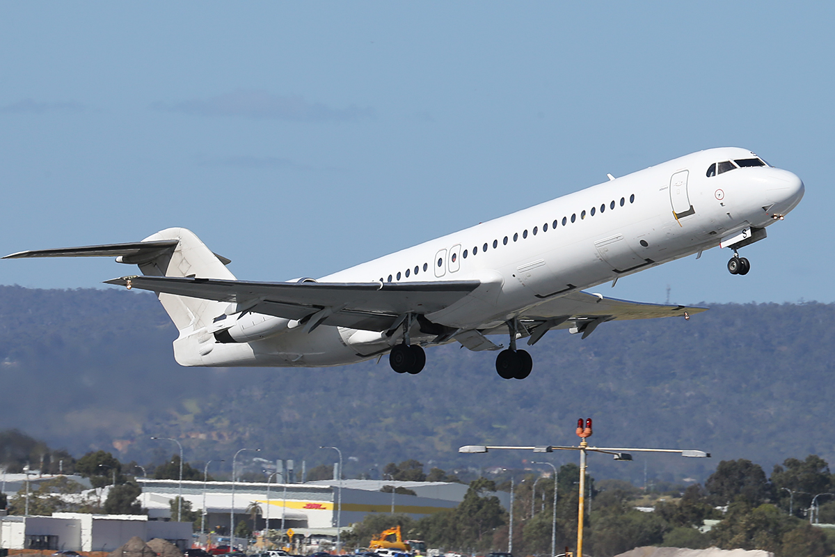 VH-XWS Fokker 100 (MSN 11314) of Alliance Airlines at Perth Airport - Thurs 9 Oct 2014.
