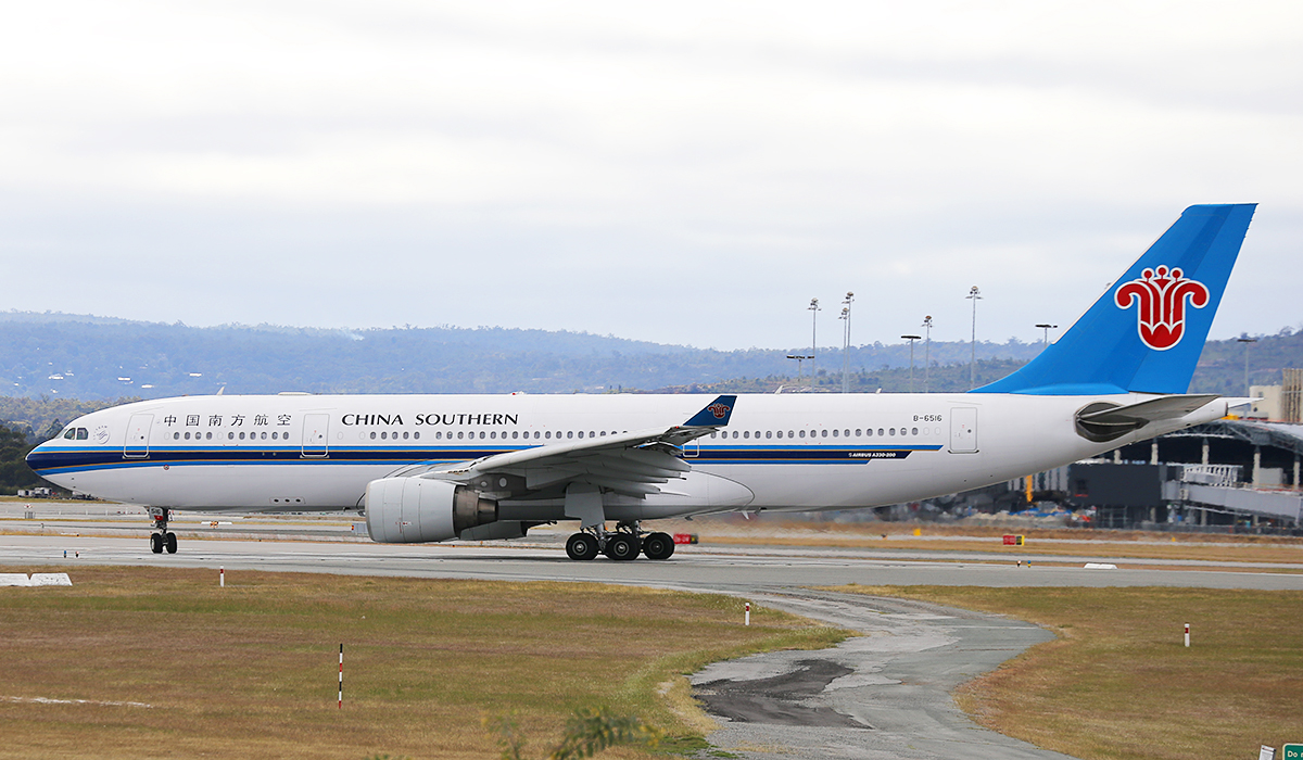 B-6516 Airbus A330-223 (MSN 1129) of China Southern Airlines at Perth Airport – Sun 12 Oct 2014.