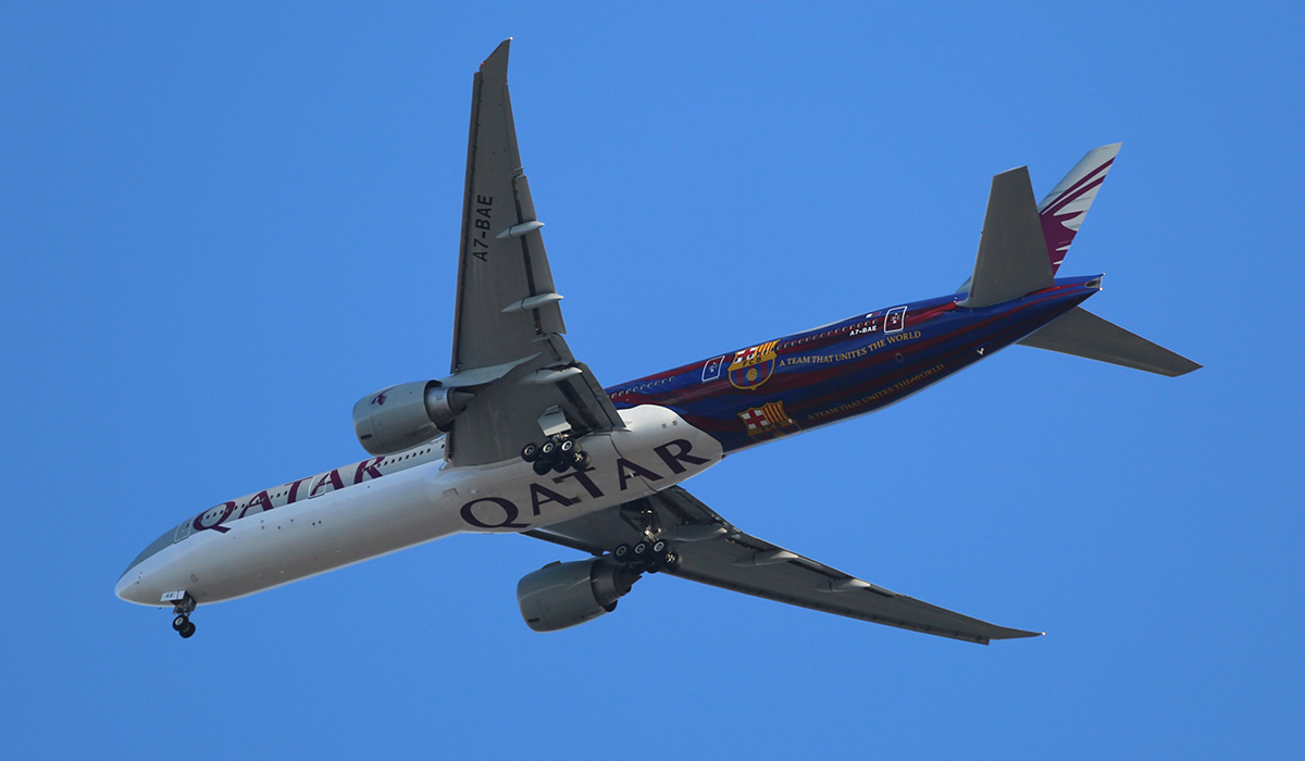 A7-BAE Boeing 777-3DZER (MSN 36104/769) of Qatar Airways, in FC Barcelona special livery, at Perth Airport Tues 21 Oct 2014.