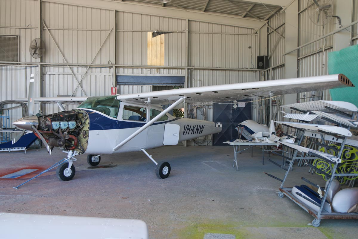 VH-KNW Cessna 182Q Skylane (MSN 18265309) owned by Christopher Pollcok, of Katanning, WA, at Jandakot Airport - Fri 24 October 2014. Built in 1976, ex N735CB. Undergoing a repaint. Photo © David Eyre