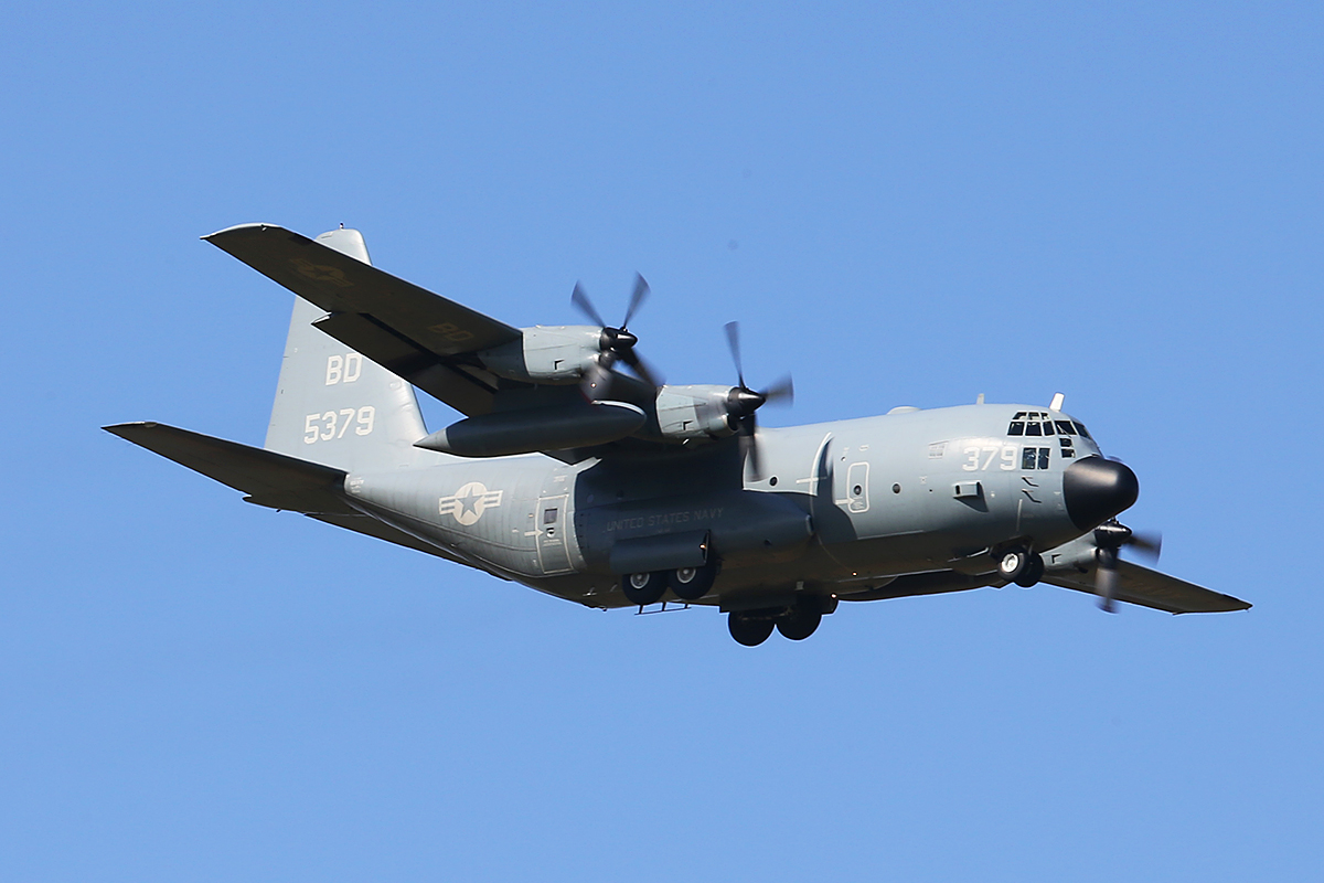 165379/BD-379 Lockheed C-130T Hercules (MSN 382-5430) of VR-64 'Condors', US Navy Reserve, at RAAF Base Pearce – Mon 27 Oct 2014. VR-64 is a Fleet Logistics Support Squadron based at Joint Base McGuire-Dix-Lakehurst, New Jersey, USA, and operates three C-130T. Seen here arriving from Darwin, on finals to runway 18 at 3:09pm, as 'CONVOY 7743'. It departed at 4:14pm back to Darwin using the same callsign. Photo © Keith Anderson.
