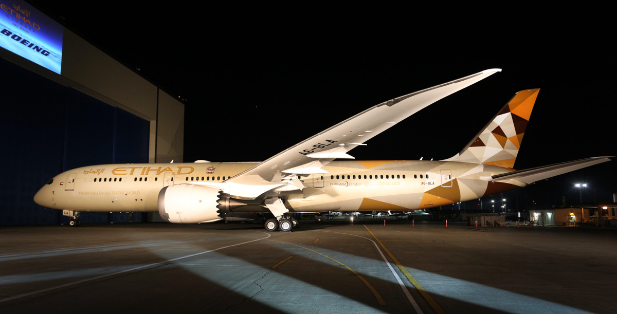 A6-BLA Boeing 787-9 Dreamliner (MSN 39646/229) of Etihad Airways at Boeing, Paine Field, Washington, USA - 28 September 2014. The first 787-9 Dreamliner for Etihad Airways outside Boeing's paint hangar, painted in the airline's new 'Facets of Abu Dhabi' livery, which uses colours to represent the desert landscape, and inspired by the culture, Islamic design and architecture motifs of the United Arab Emirates. Photo © Boeing