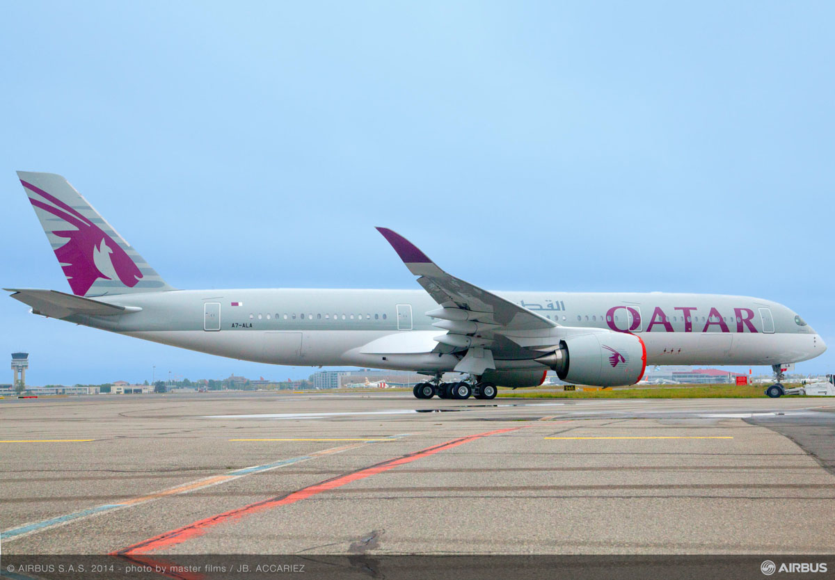 A7-ALA Airbus A350-941 (MSN 006) of Qatar Airways, at Toulouse, France - 2 October 2014. The first A350 for Qatar Airways, seen after rollout at the Airbus factory. Photo copyright Master Films / JB Accariez
