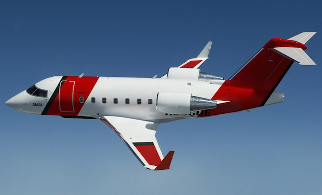 Artist impression of a Bombardier Challenger 604 in the SAR livery. Combham will use a fleet of four aircraft - one each at Perth, Cairns and Melbourne, with an operational spare.  Photo: AMSA