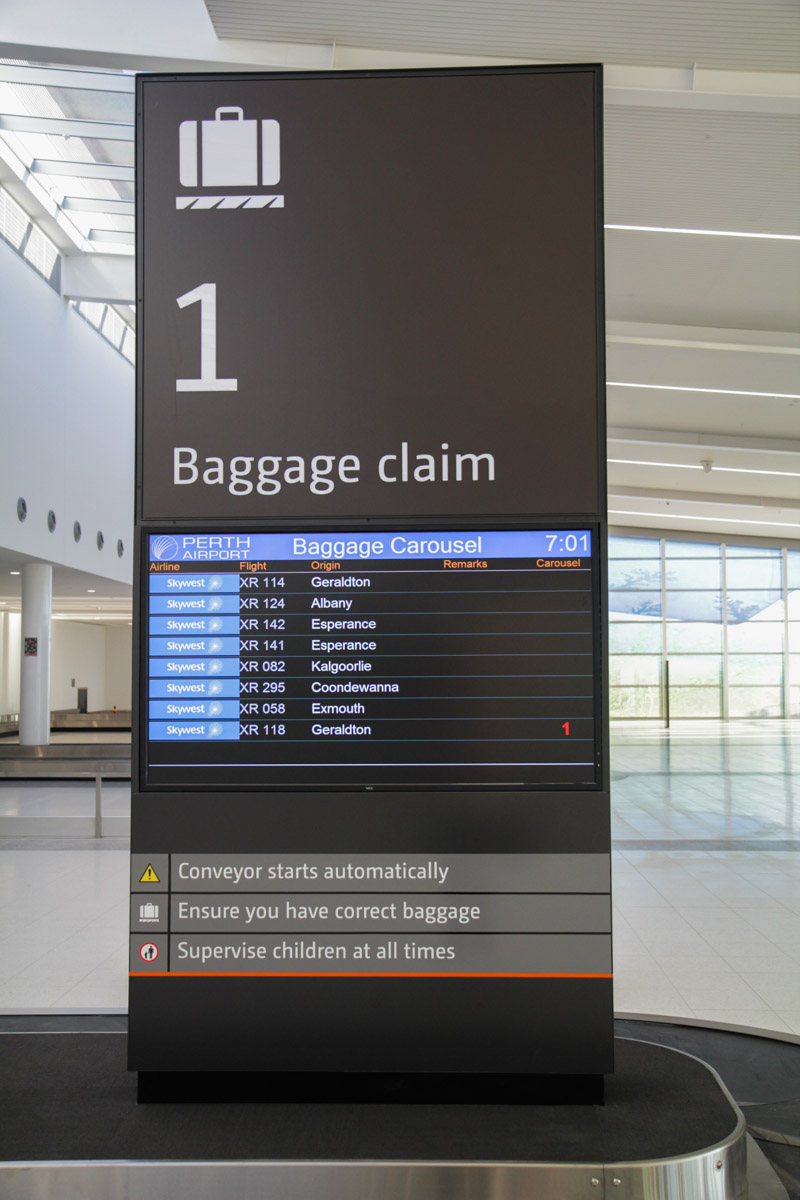 Terminal 2 on the first day of operations, Perth Airport - Sat 2 March 2013. Baggage carousel. Photo © David Eyre