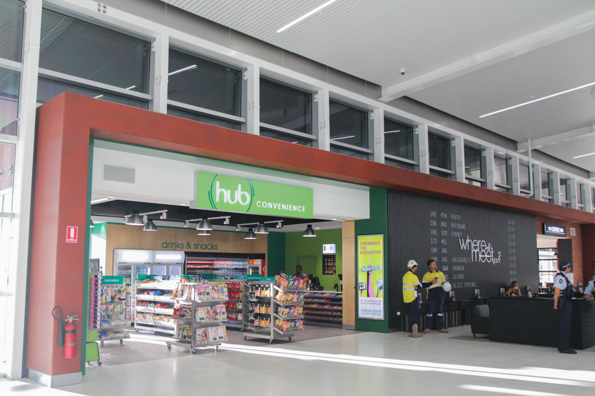 Terminal 2 on the first day of operations, Perth Airport - Sat 2 March 2013. Food shop and cafe in Terminal 2 main hall. Photo © David Eyre