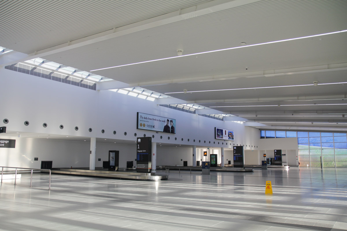 Terminal 2 on the first day of operations, Perth Airport - Sat 2 March 2013. Baggage carousel area. Photo © David Eyre