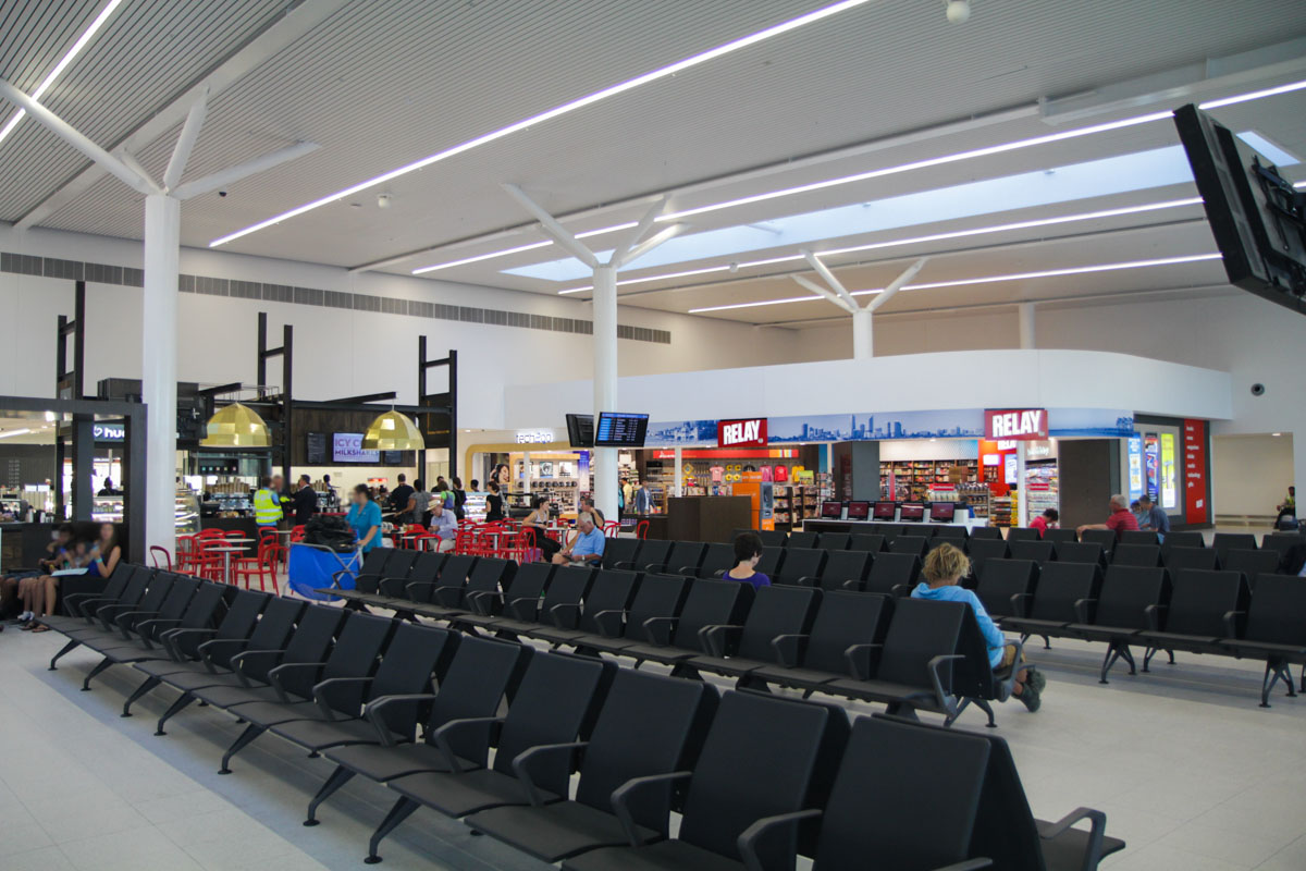 Terminal 2 on the first day of operations, Perth Airport - Sat 2 March 2013. Departure lounge. Photo © David Eyre