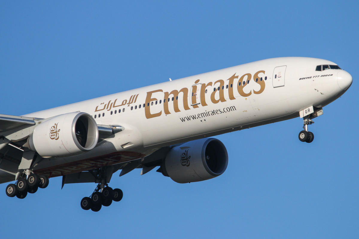 A6-EGR Boeing 777-31HER (MSN 41077/1018) of Emirates, at Perth Airport - Fri 31 October 2014. Flight EK420 from Dubai, on final approach to runway 21 at 5:35pm. Photo © David Eyre