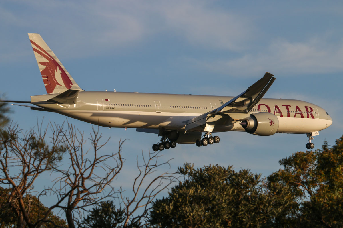 A7-BED Boeing 777-3DZER (MSN 60330/1244) of Qatar Airways at Perth Airport – Fri 31 Oct 2014. First visit to Perth and only its third revenue service. It made its first flight on 26 September 2014, was delivered to the airline three days before this photo, on 28 October 2014. It made its first revenue service on 30 October 2014. Flight QR900 from Doha, on final approach to runway 21 at 5:59 pm. Photo © David Eyre