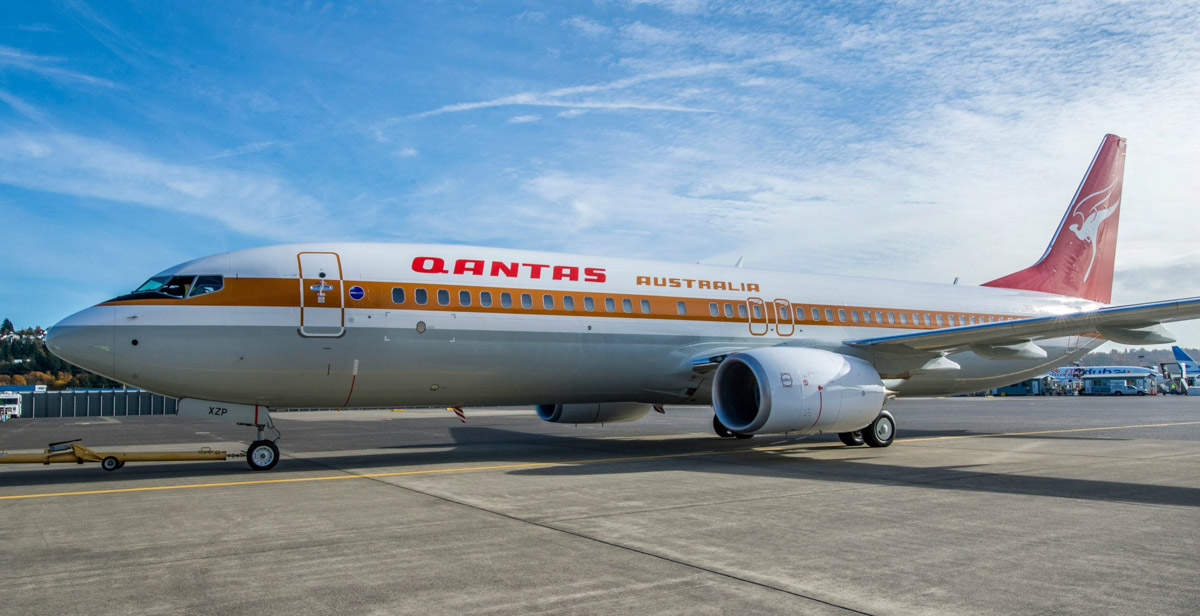 VH-XZP Boeing_737-838 (MSN 44577/5164) of Qantas in a retro livery worn by the airline in the 1970s and early 1980s at Boeing Field, Washington, USA in early November 2014.  Photo © Qantas
