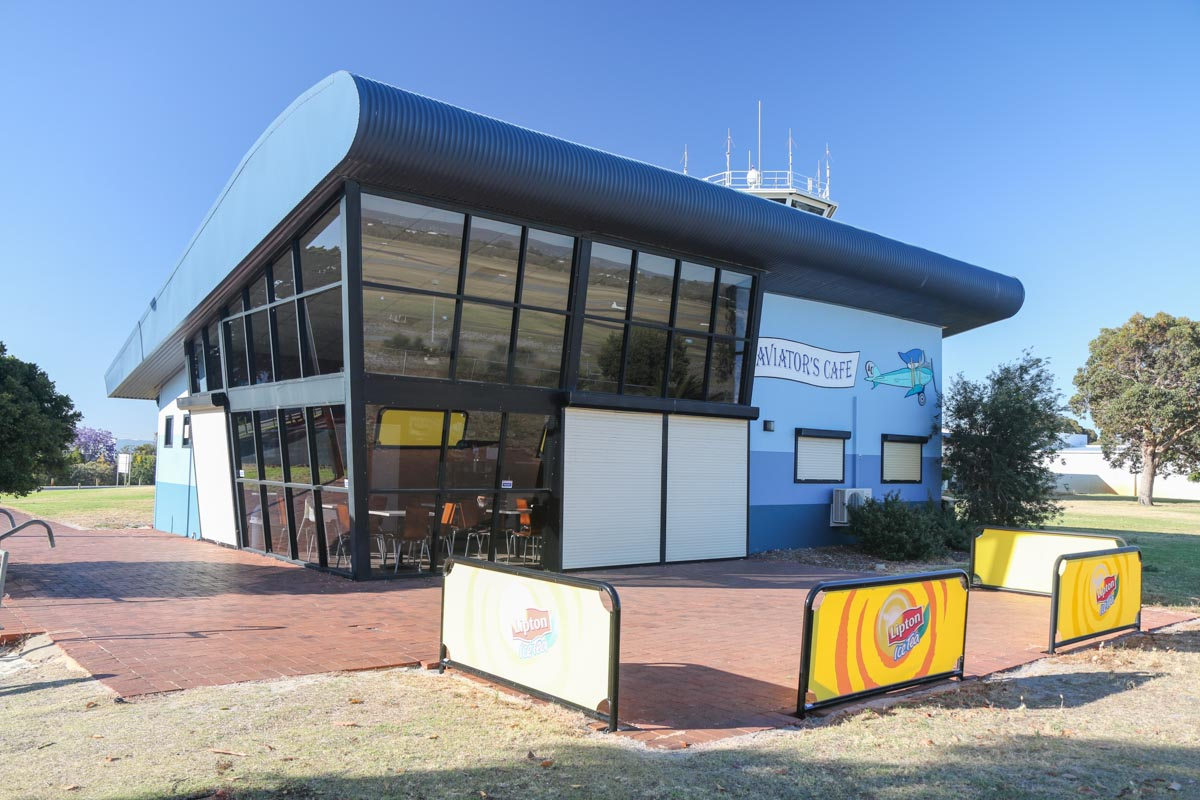 Aviator's Cafe at Jandakot Airport - Fri 14 November 2014. Situated adjacent to the Public Viewing Area, next to the control tower. Photo © David Eyre