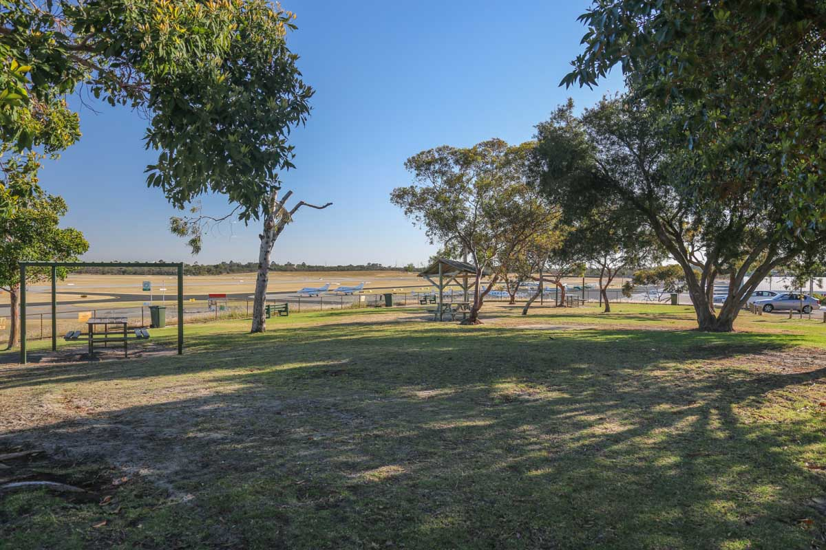 Public Viewing Area at Jandakot Airport - Fri 14 November 2014. View southwest towards the southern apron and runway 06L. Photo © David Eyre