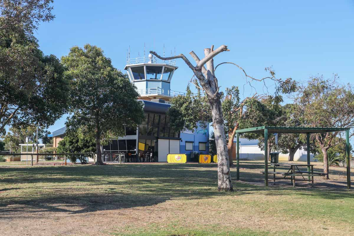 Public Viewing Area at Jandakot Airport - Fri 14 November 2014. View northeast towards the Control Tower and Aviator's Cafe. Photo © David Eyre