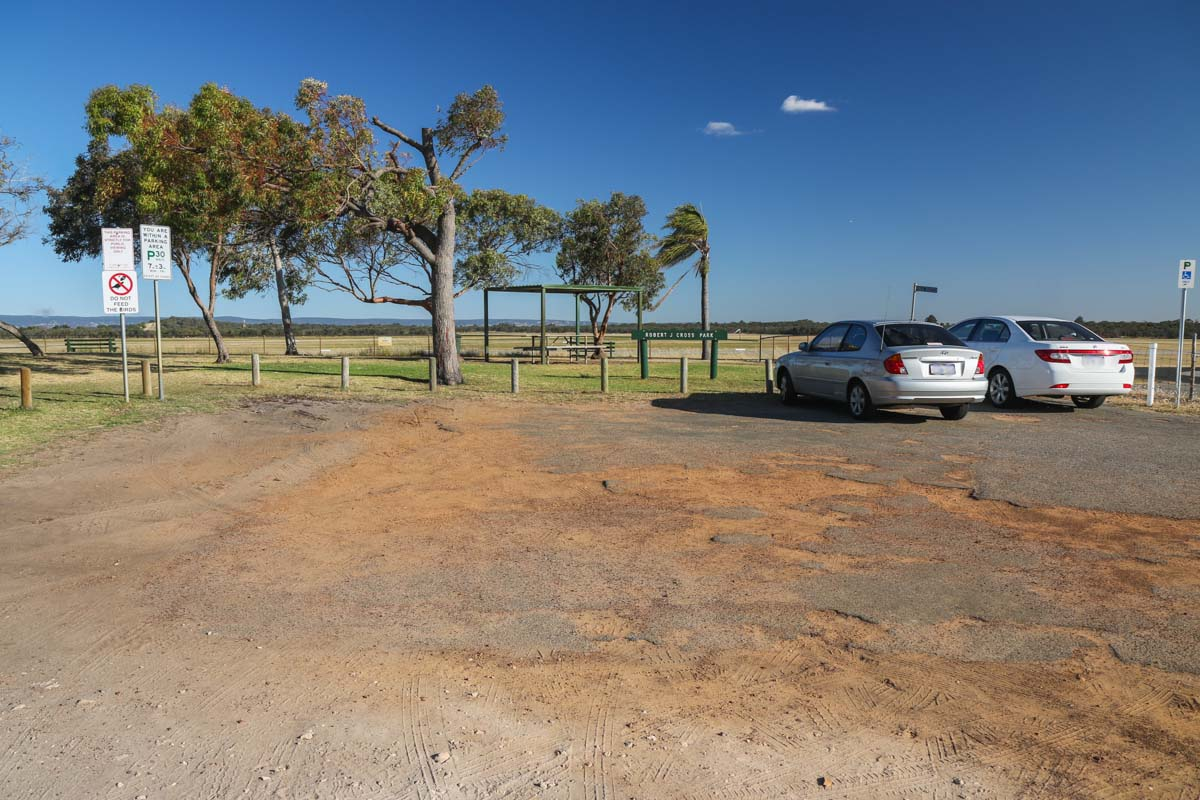 Public Viewing Area at Jandakot Airport - Fri 14 November 2014. View east, showing the car park. Photo © David Eyre
