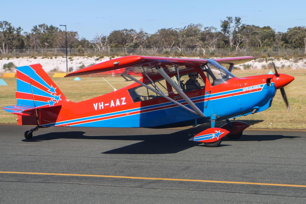 VH-AAZ American Champion 8KCAB Super Decathlon (MSN 752-95) owned by Inverted Pty Ltd, at Jandakot Airport, Fri 14 November 2014. Built in 1995. Taken from VH-LZJ TBM900 of JJ Bely, as we taxied in. Photo © David Eyre
