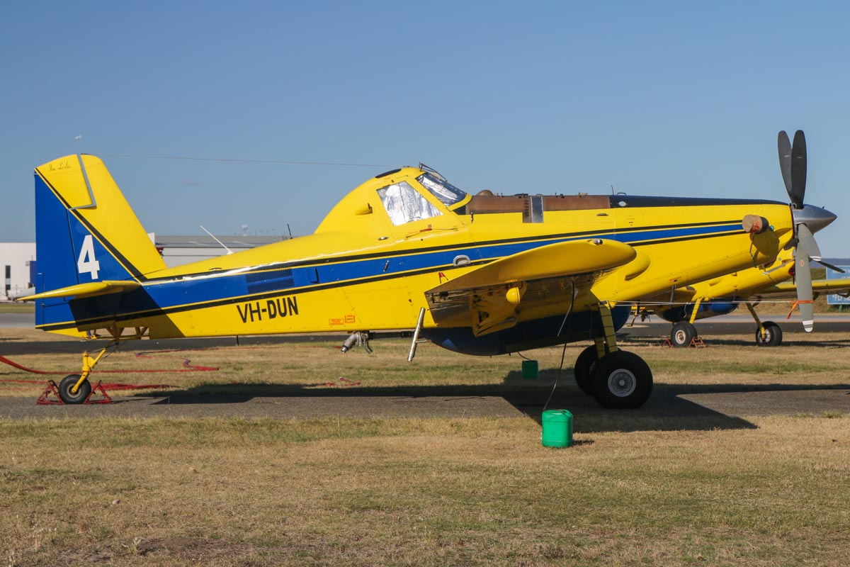 "VH-DUN / BOMBER 604 Air Tractor AT-802A (MSN 802A-0328), named ""Ian Leslie"", owned by Dunn Aviation, operated for Department of Fire and Emergency Services, at Jandakot Airport – Fri 14 November 2014. On contract to DFES during the summer months as a fire fighting aircraft. Built 2010, ex N8521E. Photo © David Eyre"