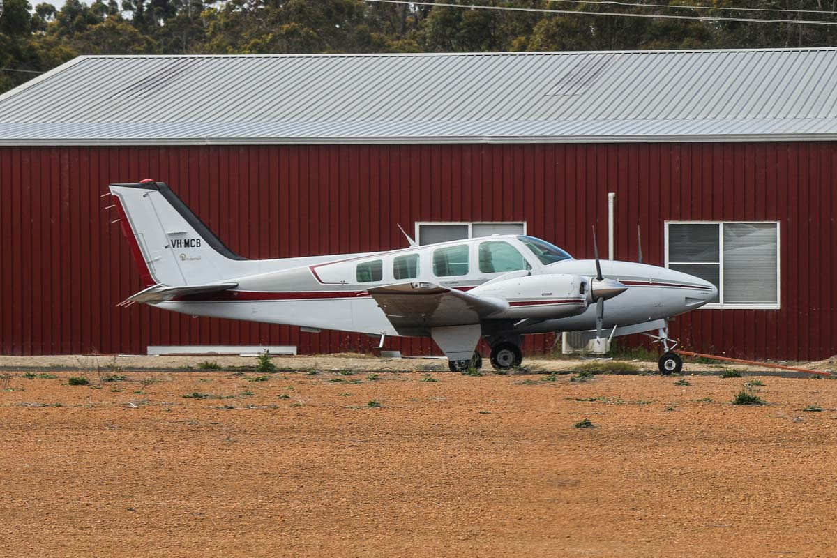 VH-MCB Beech Baron 58 (MSN TH-1475) owned by Lester Northey, of South Bunbury, WA, at Manjimup Airfield – Fri 14 November 2014. Photo © David Eyre