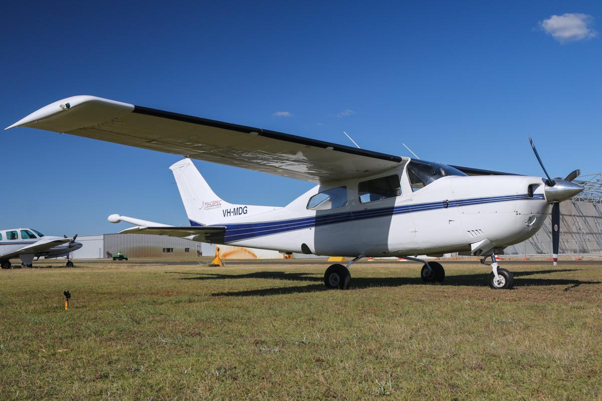 VH-MDG Cessna 210M Centurion II (MSN 21061622) of MagSpec Airborne Surveys (owned by Aero Jacks Pty Ltd), at Jandakot Airport - Fri 14 November 2014. Built in 1976, ex N732MP. This aircraft is fitted with a tail-mounted magnetometer 'stinger' for geophysical survey work and was previously operated by OzShore Aviation in the same configuration. Photo © David Eyre