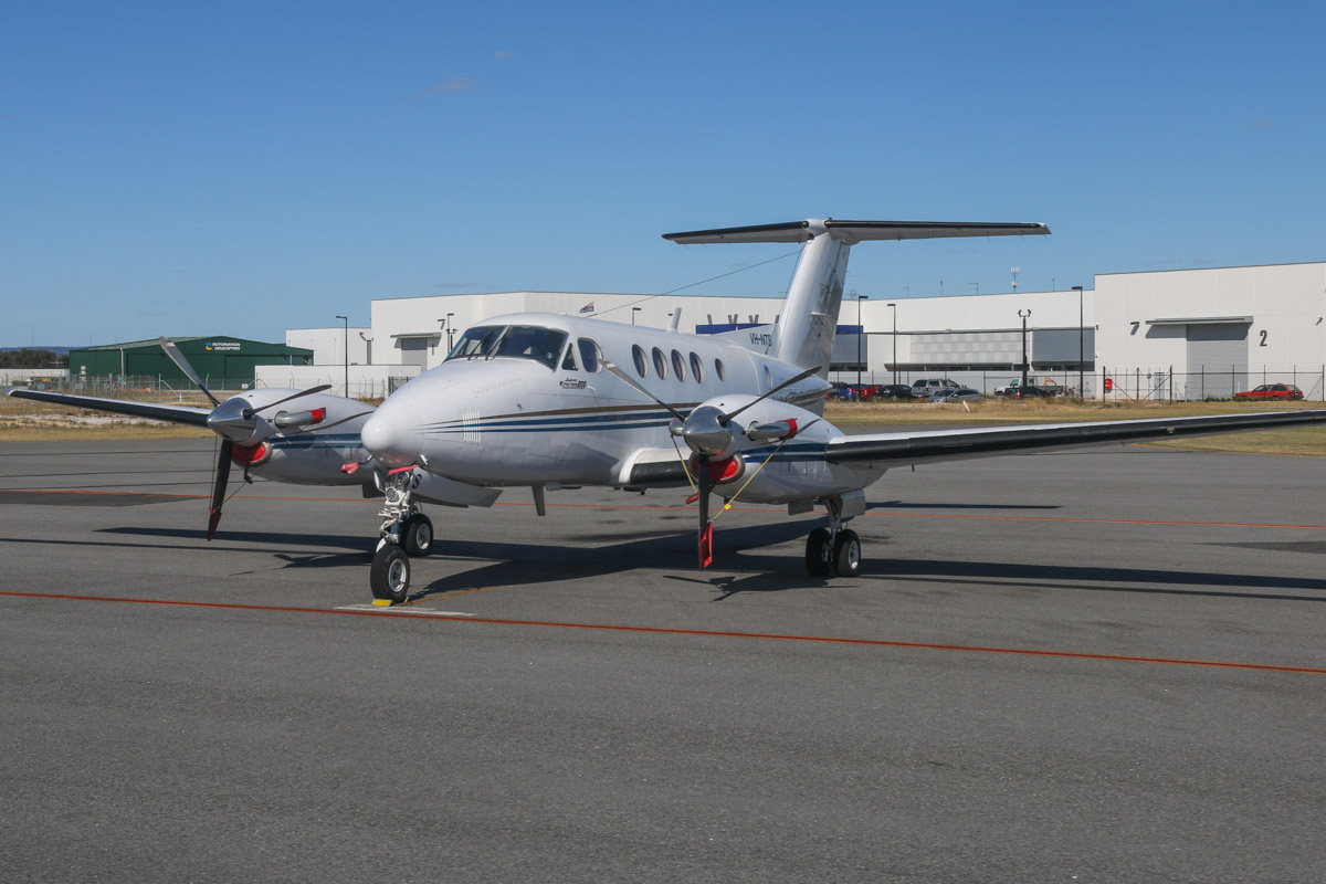 VH-NTS Beech King Air 200C (MSN BL-30) operated by Goldfields Air Services (GAS), at Jandakot Airport – Fri 14 November 2014. Leased from Formula Aviation. Built in 1981, ex N3723Y, VH-TNQ. Phototaken from VH-LZJ SOCATA TBM900 (MSN 1016) owned by Jean-Jacques Bely as we taxied in. Photo © David Eyre