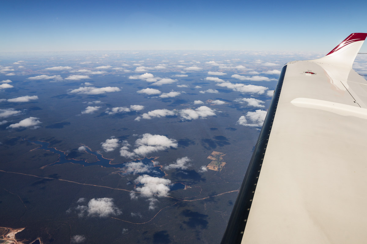 Harris Dam and Lake Ballingall, seen from VH-LZJ SOCATA TBM 900 (MSN 1016) owned and flown by Jean-Jacques Bely, – Fri 14 November 2014. Taken from an altitude of 16,500 feet, en route from Manjimup, heading north to Jandakot. View northeast over the lake, which was named after the family who lived at a farm which is now submerged under the lake. The dam was built in 1990 and provides water to 30 towns in the south of WA. Photo © David Eyre