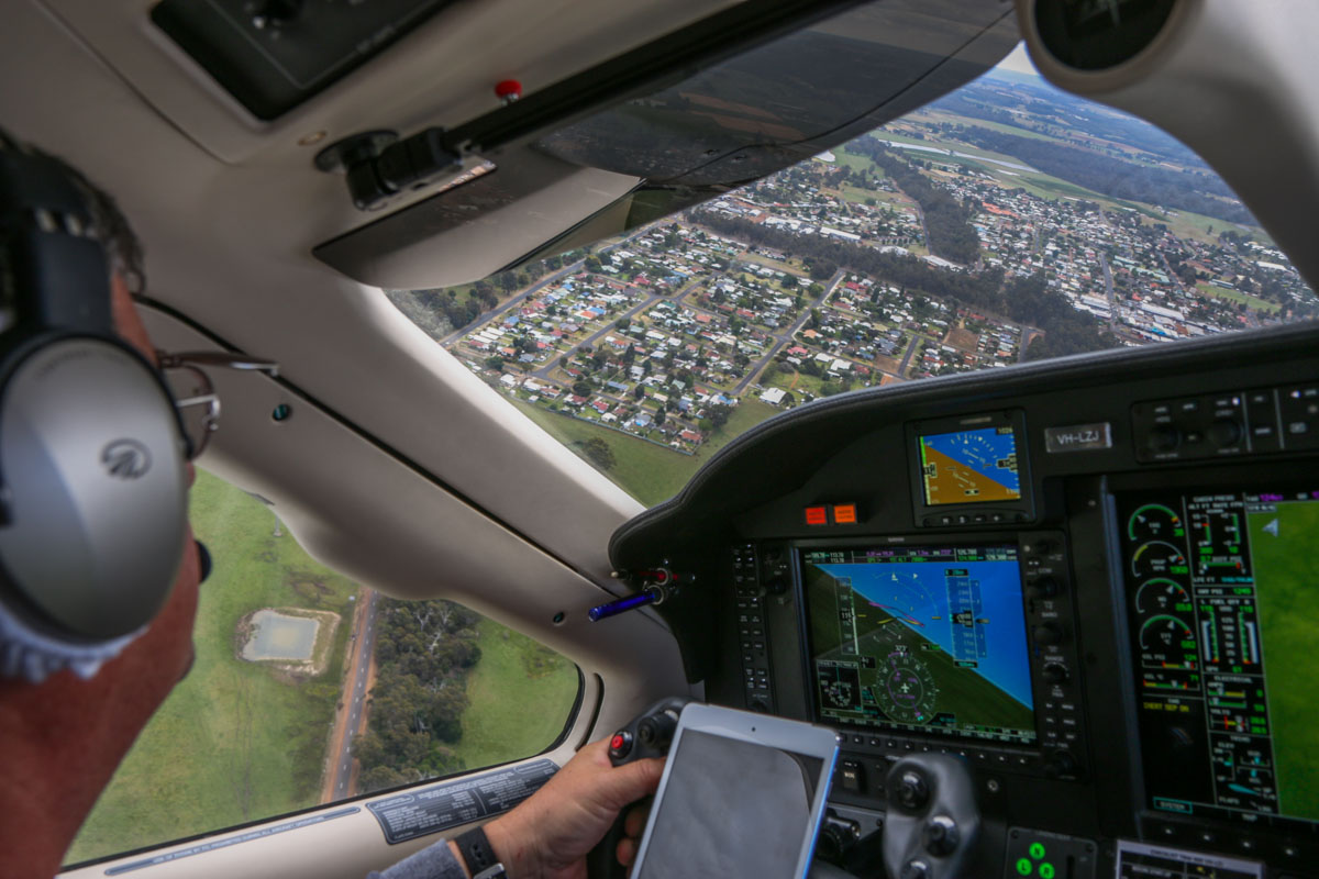 Aboard VH-LZJ SOCATA TBM 900 (MSN 1016) owned and flown by Jean-Jacques Bely, northeast of Manjimup Airfield – Fri 14 November 2014. About 2,000 feet on descent to Manjimup Airfield. This view was taken facing towards Manjimup town. Photo © David Eyre