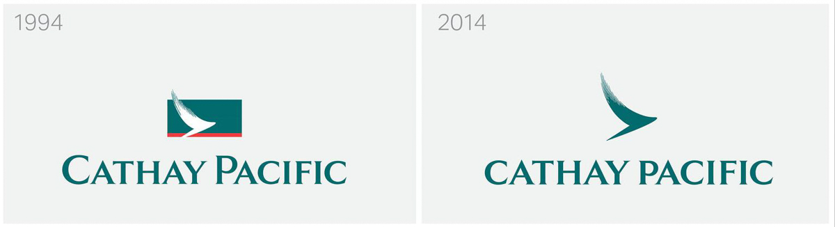 Cathay Pacific's new logo, compared to the current logo. Image: Cathay Pacific