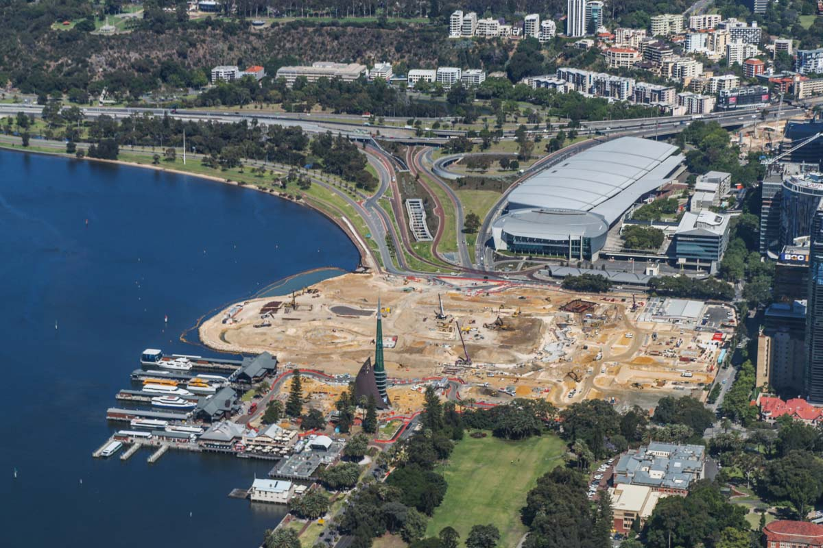 Perth city: Kings Park, Barrack Street Jetty, and Elizabeth Quay under construction, seen from VH-ICE Cirrus SR22 GTS G5 (MSN 4063) owned by Andrew Dean - Sat 15 November 2014. View facing west. Photo © David Eyre