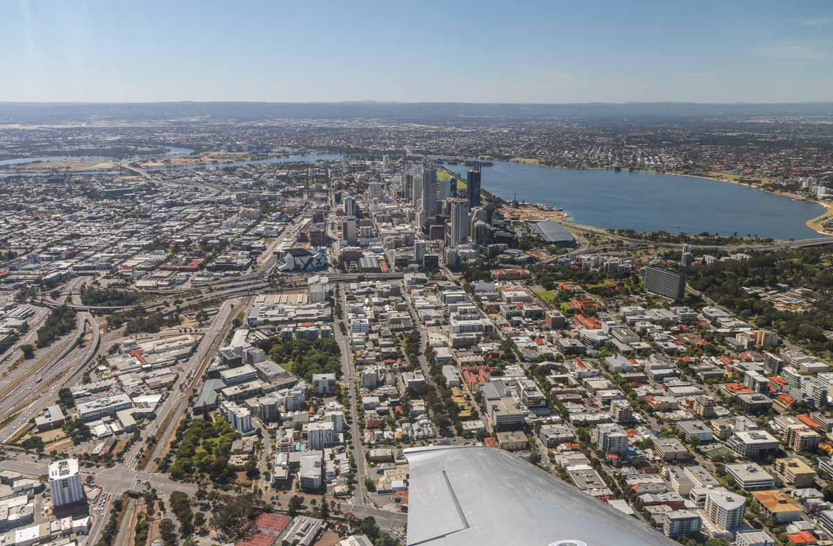 West Perth, Northbridge, Perth city, South Perth, and Swan River, seen from VH-ICE Cirrus SR22 GTS G5 (MSN 4063) owned by Andrew Dean - Sat 15 November 2014. View facing ESE. Photo © David Eyre