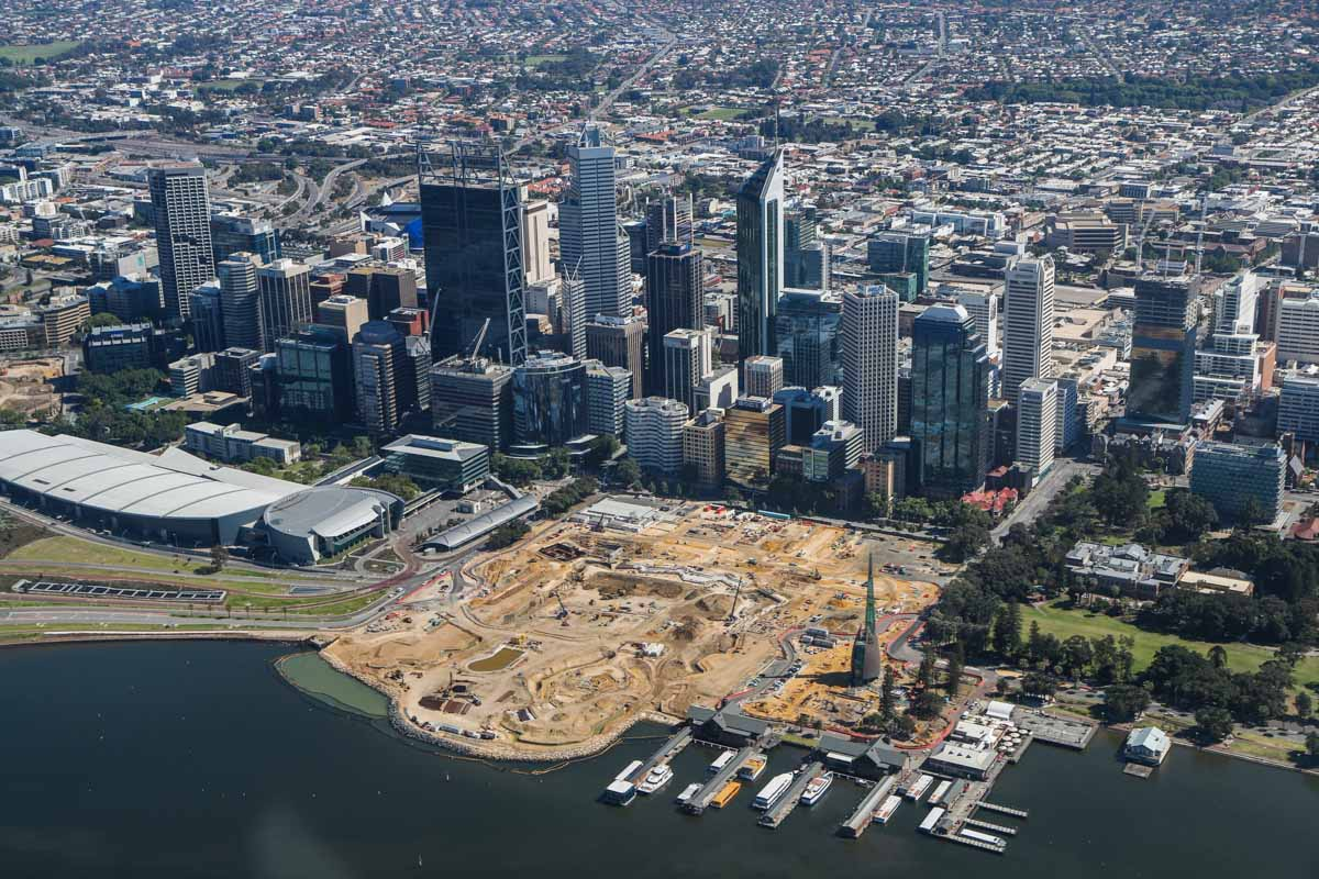Perth city, seen from VH-ICE Cirrus SR22 GTS G5 (MSN 4063) owned by Andrew Dean - Sat 15 November 2014. View facing north. Construction of Elizabeth Quay visible next to Barrack Street Jetty. Photo © David Eyre