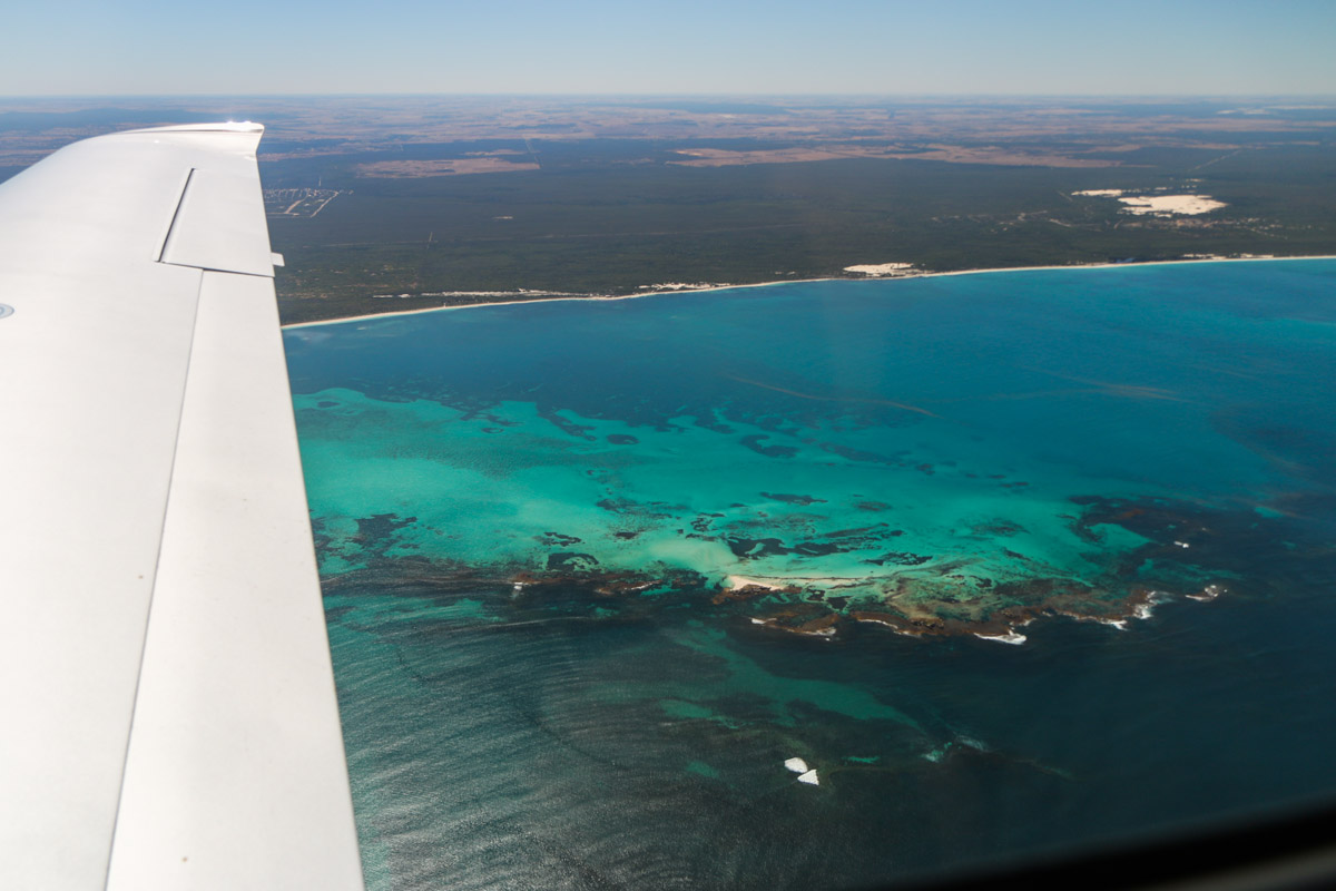 Essex Rocks near Jurien Bay, seen from VH-ICE Cirrus SR22 GTS G5 (MSN 4063) owned by Andrew Dean - Sat 15 November 2014. View facing east. Located 220km north of Perth. Photo © David Eyre