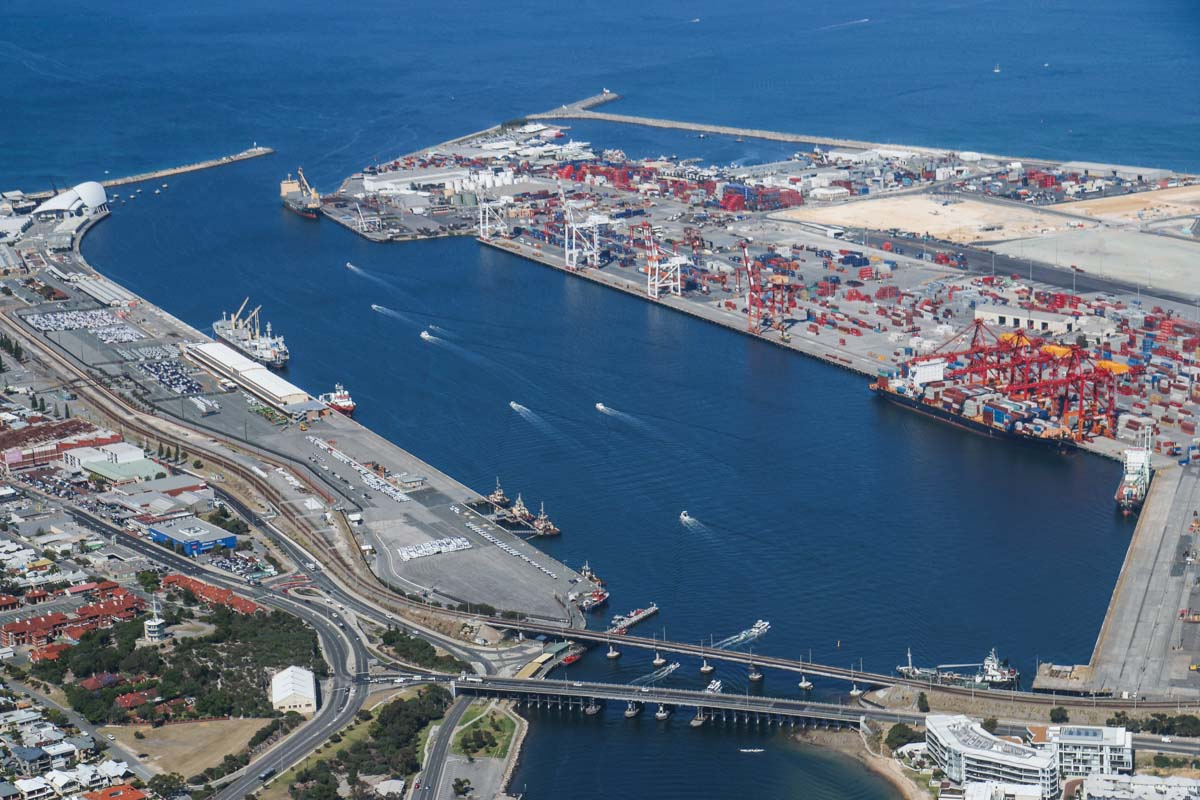 Fremantle Port and the Swan River, seen from VH-ICE Cirrus SR22 GTS G5 (MSN 4063) owned by Andrew Dean - Sat 15 November 2014. View facing WSW on a flight from Jandakot to Geraldton, Dongara and back. Photo © David Eyre