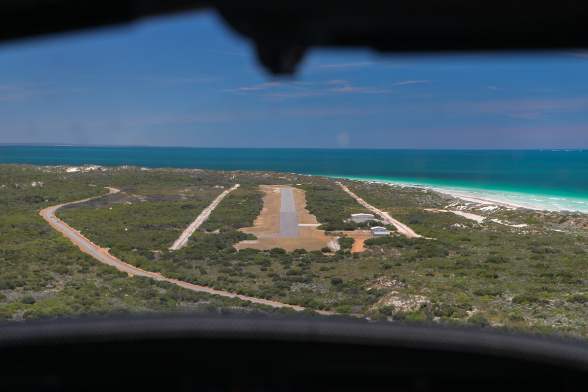 Port Denison, Dongara, seen from VH-ICE Cirrus SR22 GTS G5 (MSN 4063) owned by Andrew Dean - Sat 15 November 2014. View facing south, on final approach to runway 18 at Dongara Airfield. Photo © David Eyre