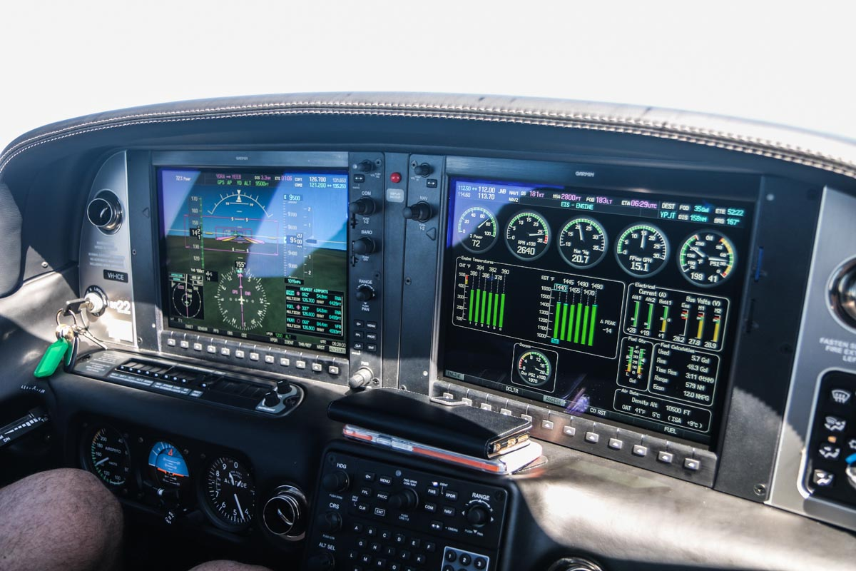Cockpit of VH-ICE Cirrus SR22 GTS G5 (MSN 4063) owned by Andrew Dean on flight from Dongara to Jandakot - Sat 15 November 2014. At 9,500 feet and 181 knots, 158nm from Jandakot. Photo © David Eyre