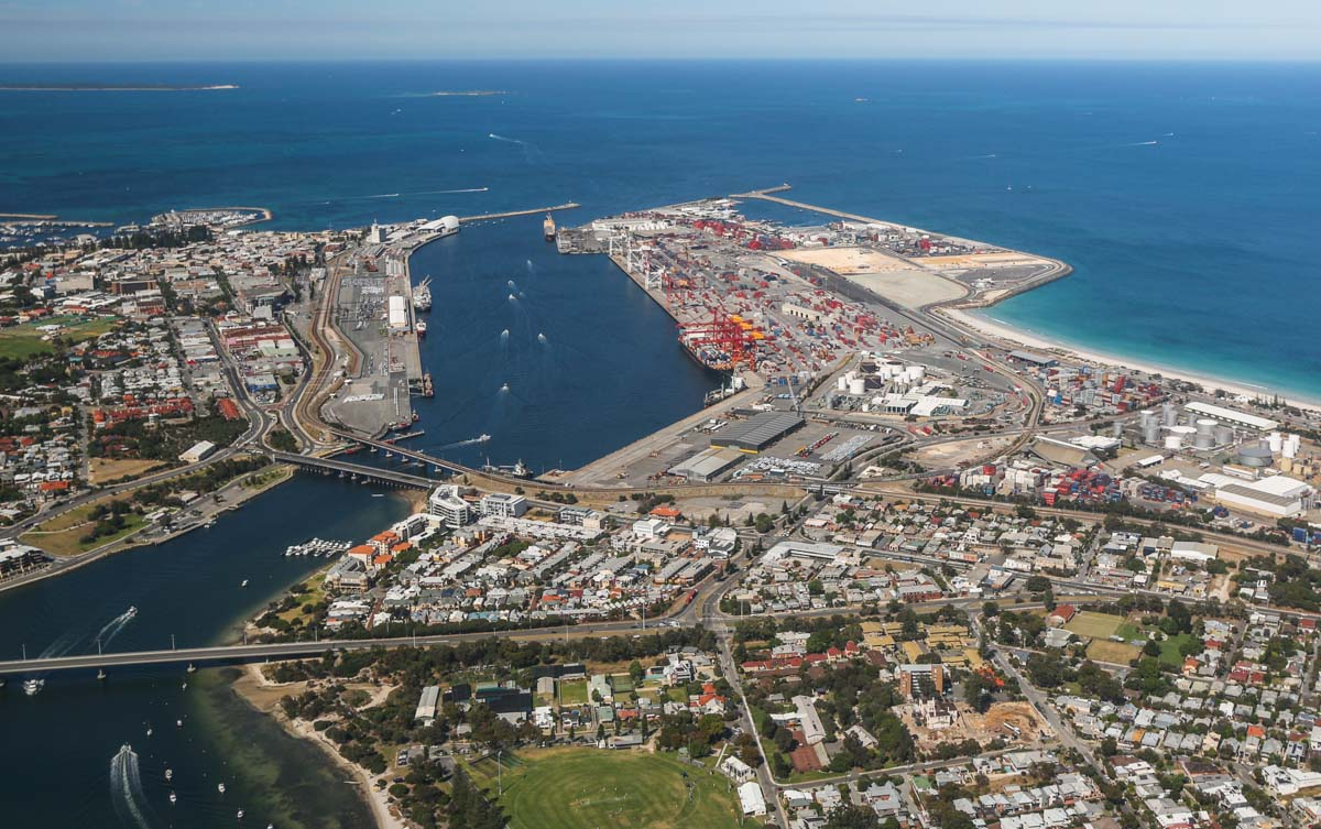 Fremantle Port and the Swan River, seen from VH-ICE Cirrus SR22 GTS G5 (MSN 4063) owned by Andrew Dean - Sat 15 November 2014. View facing southwest on a flight from Jandakot to Geraldton, Dongara and back. Garden Island visible at upper left. Photo © David Eyre